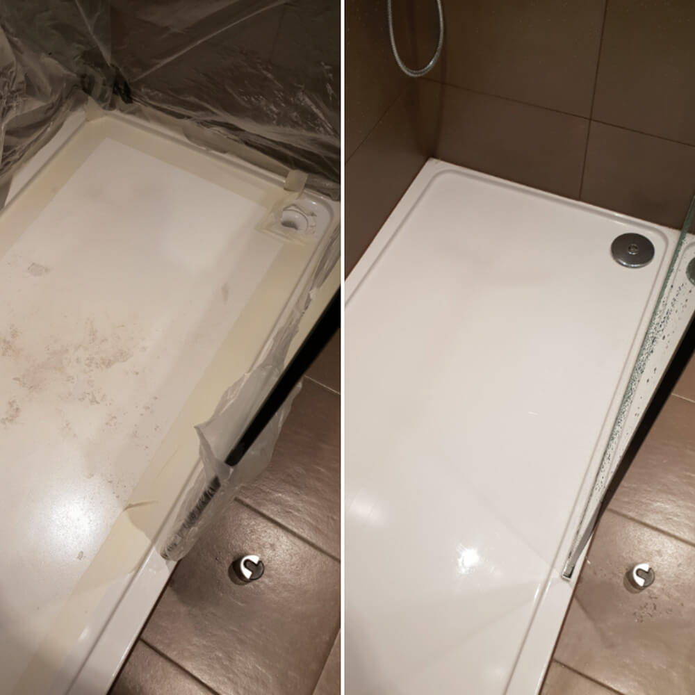 Before and after image of shower repair.
