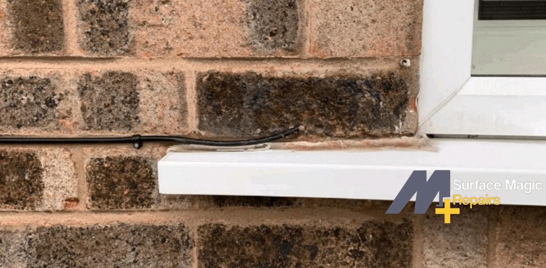 Repaired brick post repair.
