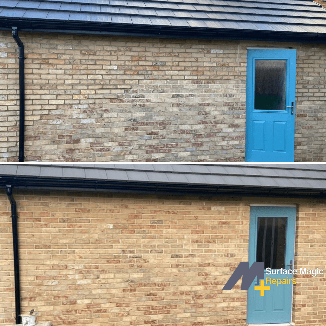 Before and after of brick repair.