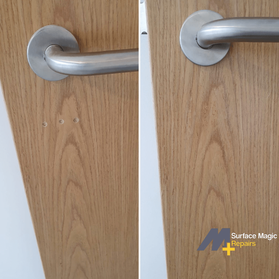 Before and after of door repair.
