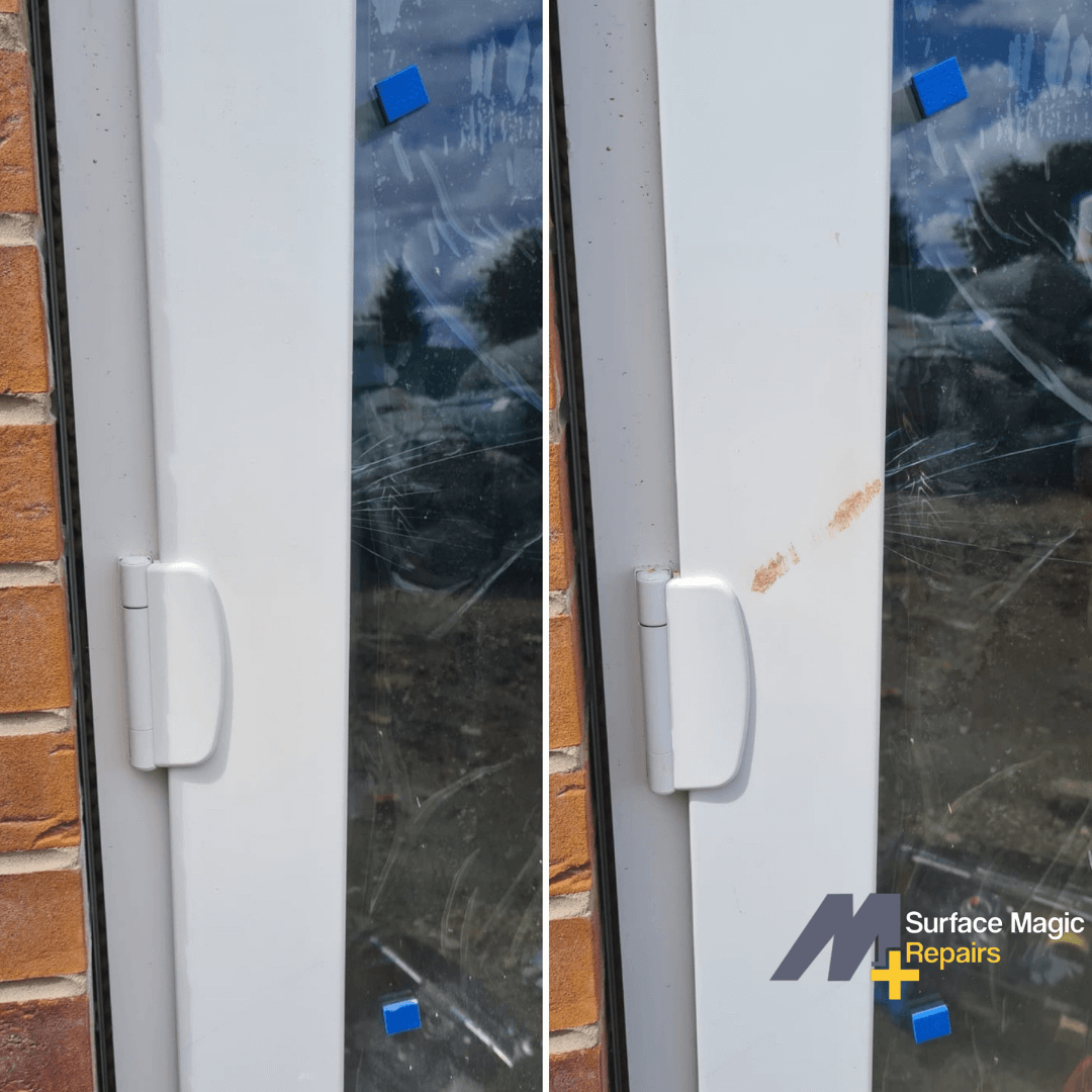 Before and after of patio door repair.