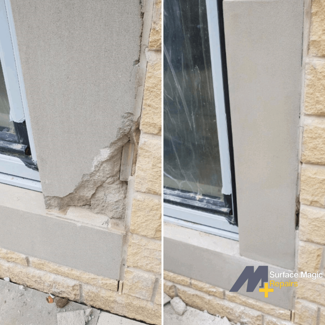 Before and after of stone repair