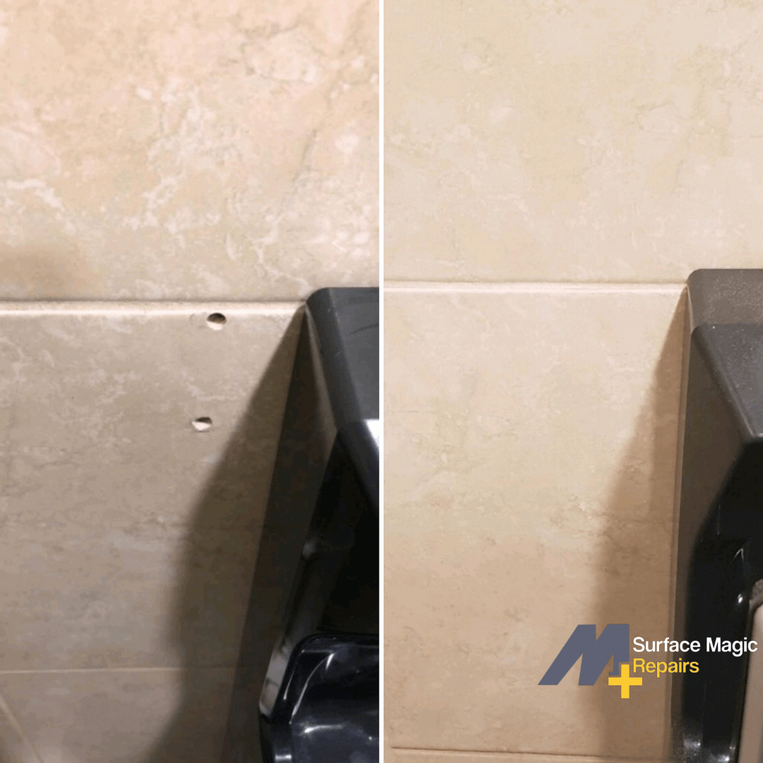 Before and after of tile repair.