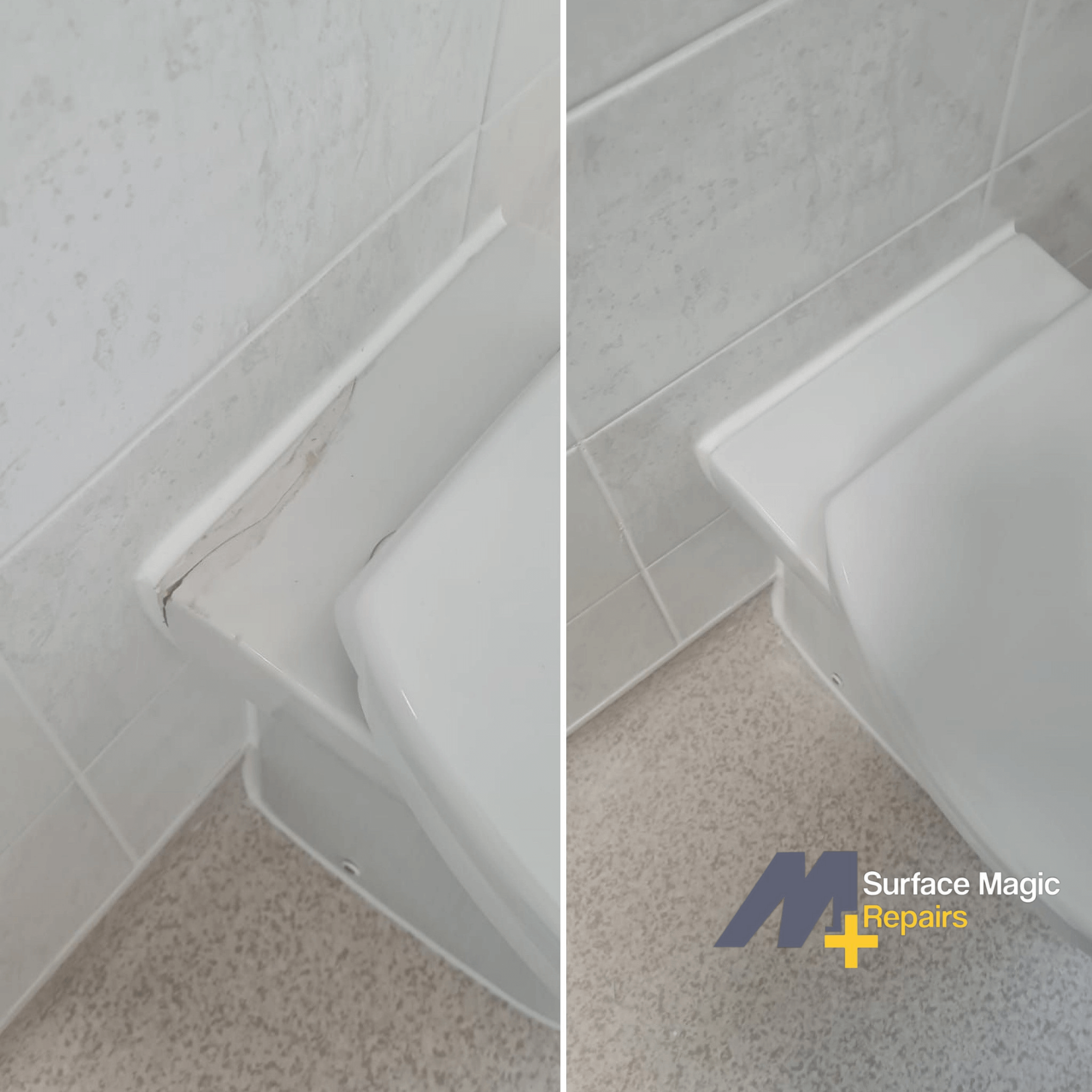 Before and after of toilet repair.