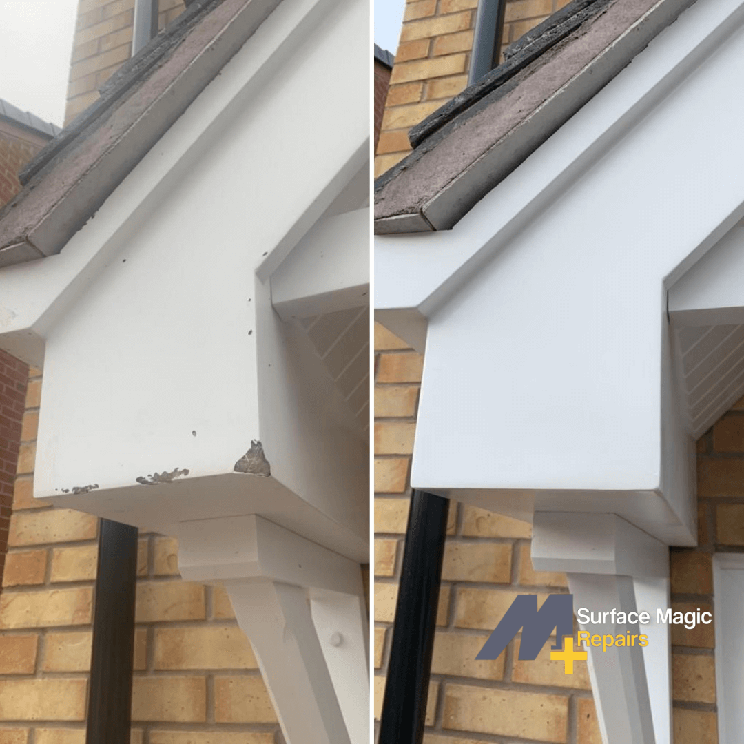 Before and after of roof soffit repair.