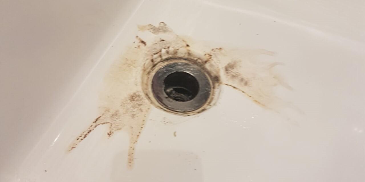 Damaged drain pre repair.