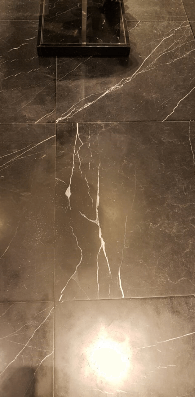 After of repaired damaged marble floor.