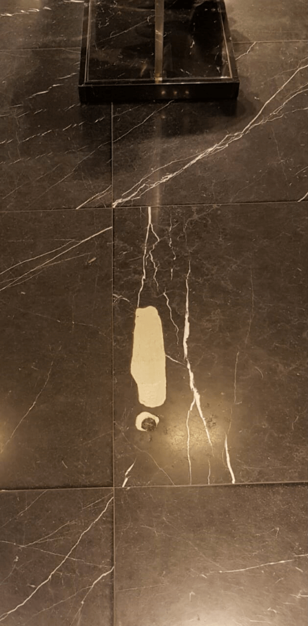 Before of damaged marble.