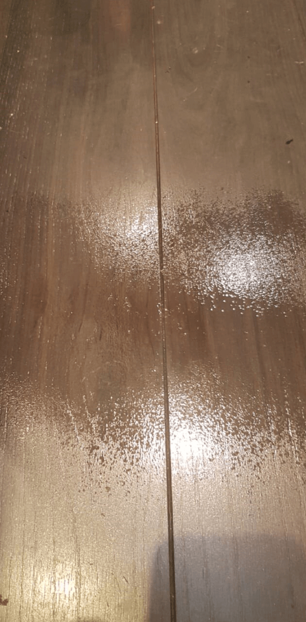 After of repaired wooden surface.