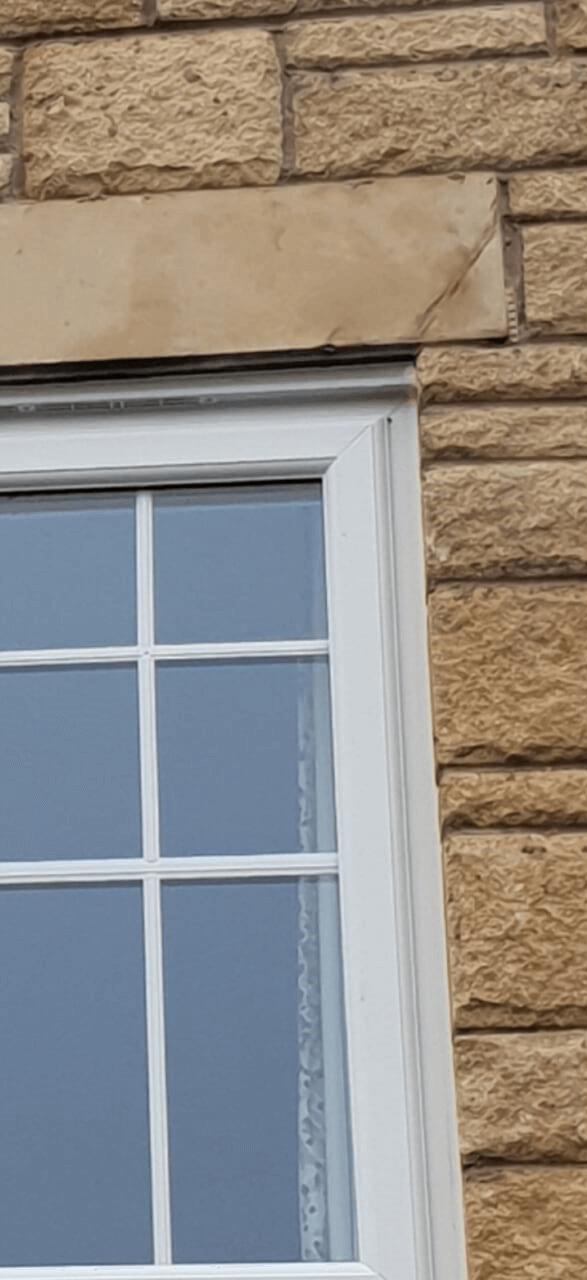 Before of damaged stone window.
