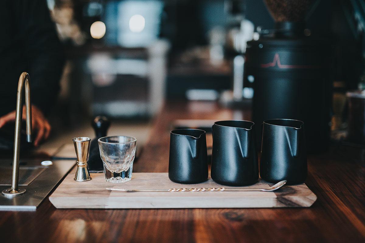 Barista equipment in coffee shop.